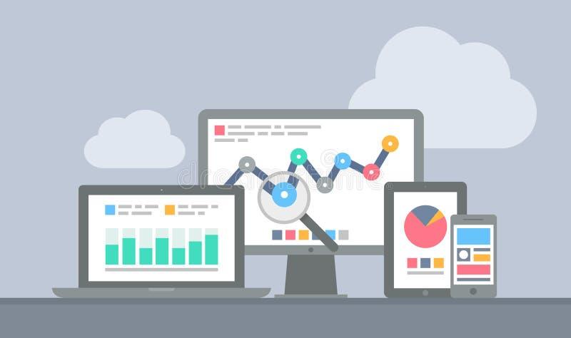 Website and mobile google analytics concept. Flat design modern vector illustration concept of website analytics and computing data analysis using modern vector illustration