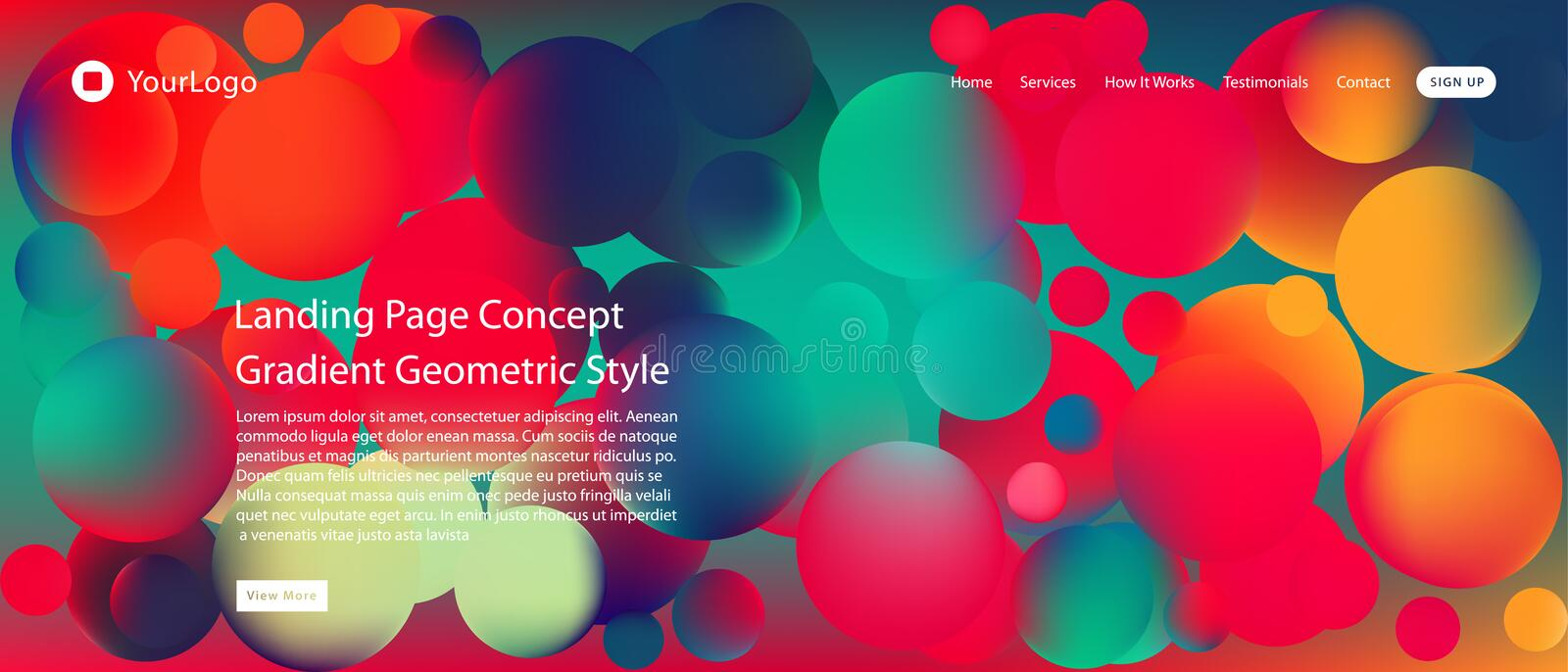 Website or mobile app landing page with illustration of Abstract Colorful Minimal Geometric Pattern Background Design and Gradient. Shapes vector illustration