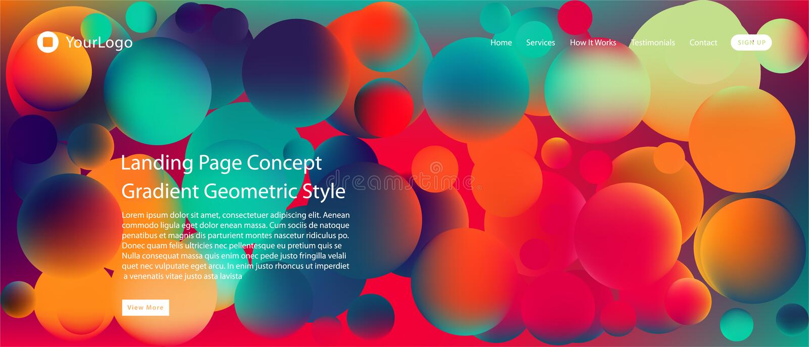 Website or mobile app landing page with illustration of Abstract Colorful Minimal Geometric Pattern Background Design and Gradient. Shapes royalty free illustration