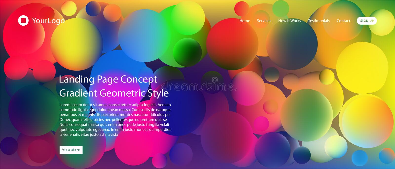 Website or mobile app landing page with illustration of Abstract Colorful Minimal Geometric Pattern Background Design and Gradient. Shapes stock illustration