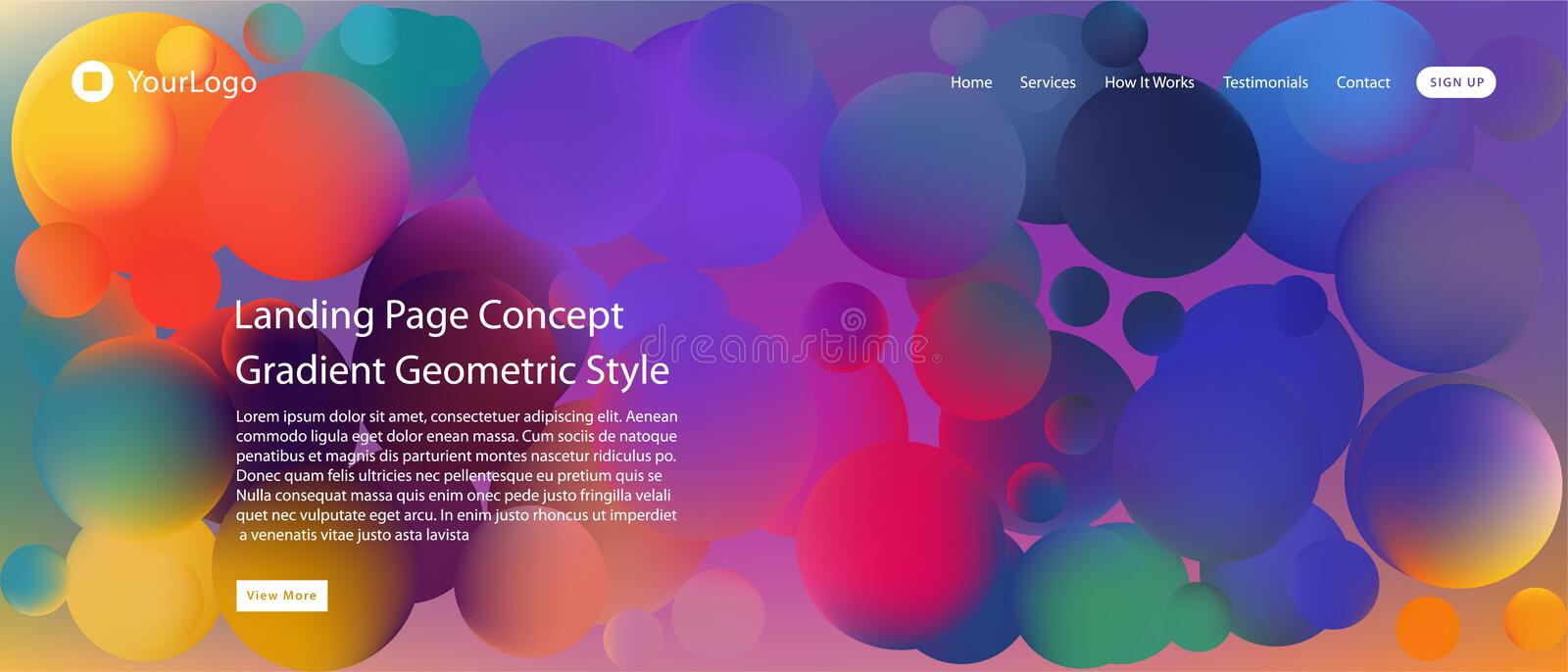 Website or mobile app landing page with illustration of Abstract Colorful Minimal Geometric Pattern Background Design and Gradient royalty free illustration