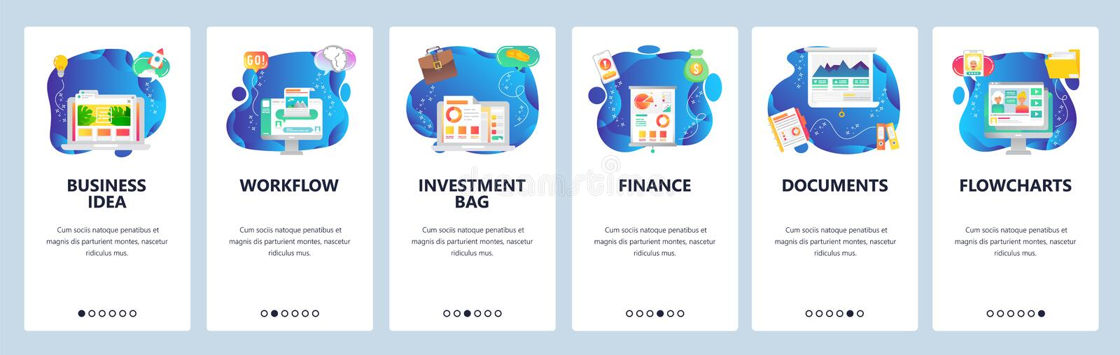 Website and mobile app onboarding screens vector template stock illustration