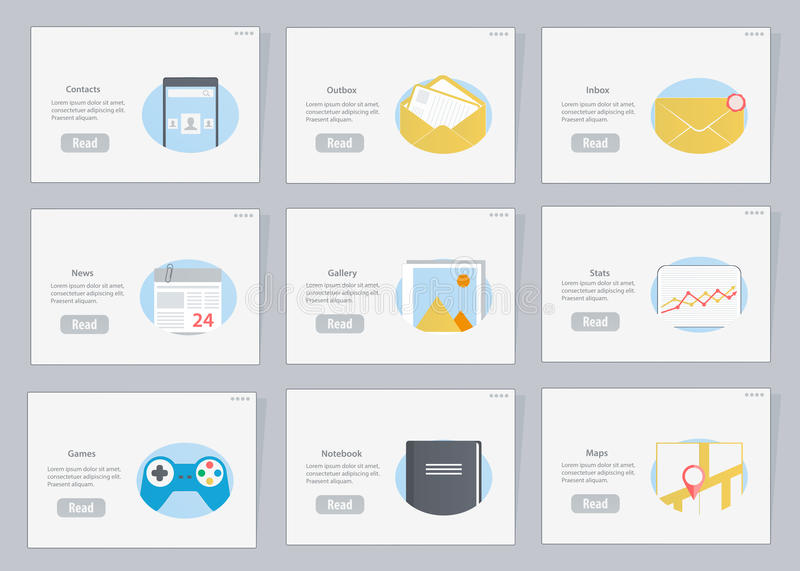 Website and mobile Flowcharts with icons in flat style royalty free illustration