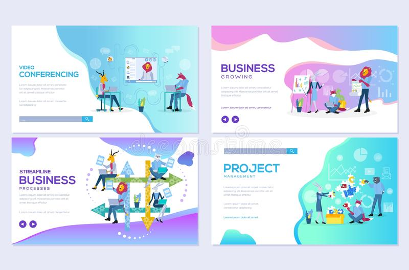 Website and mobile website development illustration concepts. Set of project workflow, business communication, and consulting stock illustration