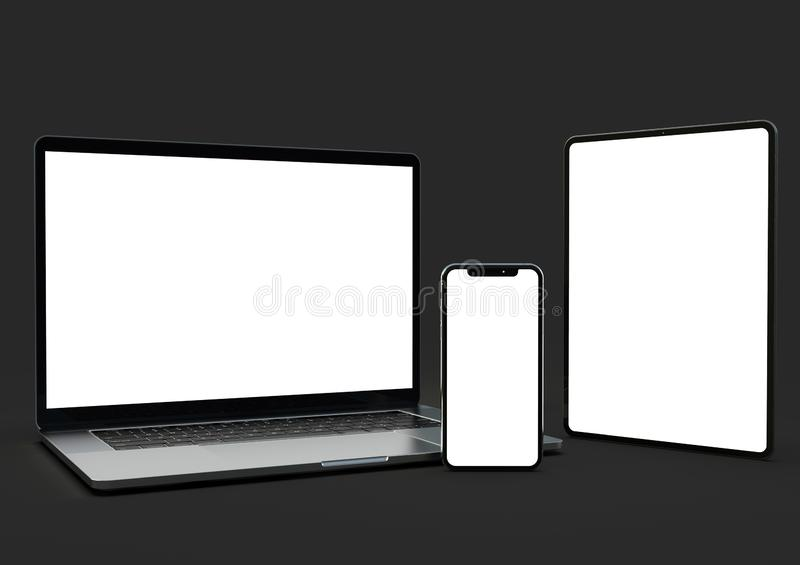 Website mock-up composition - laptop, smartphone, tablet vector illustration
