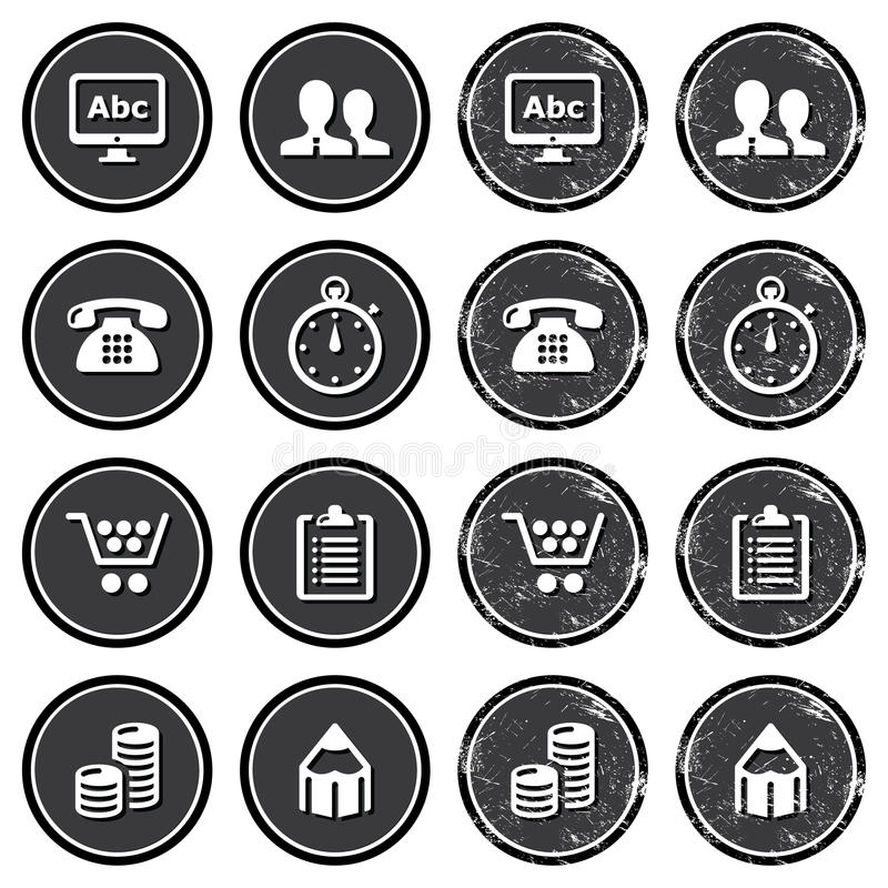 Website Navigation Icons On Retro Labels Set Royalty Free Stock Image