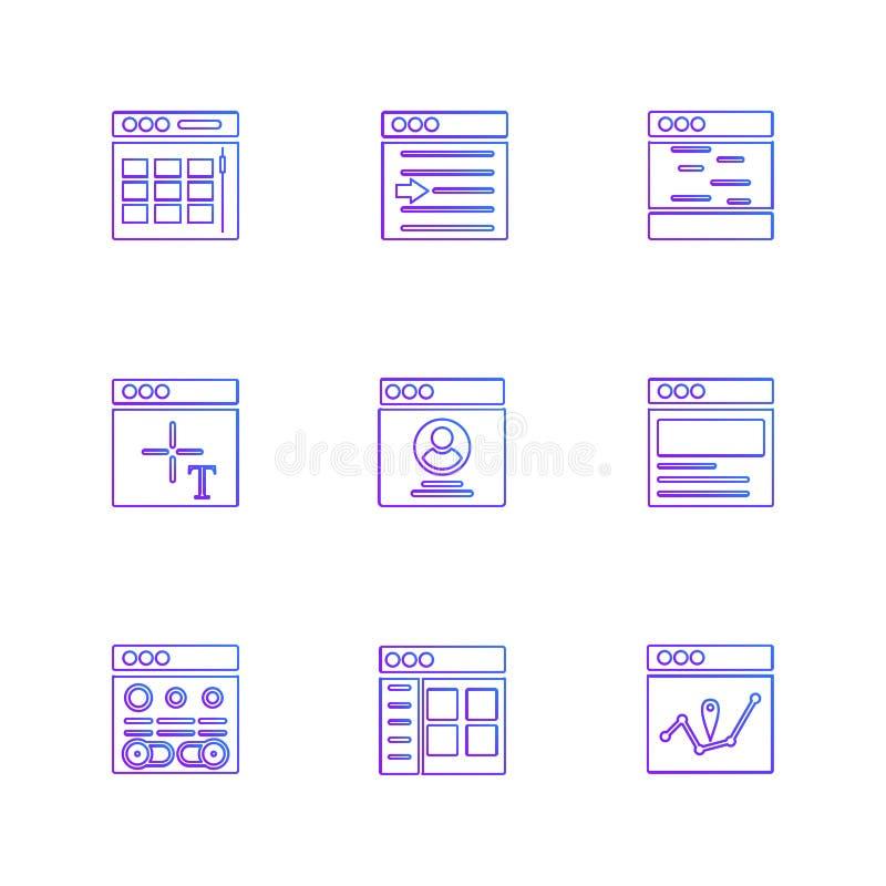 Website, Netz, Benutzerschnittstelle, Netz-APP, ENV-Ikonen stellte Vektor ein lizenzfreie abbildung