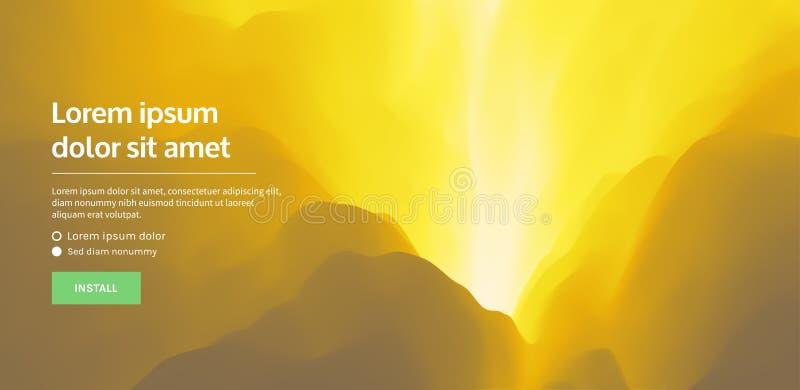 Website oder bewegliche APP-Landungsseite Anak Krakatau, Indonesien Landschaft mit Bergen entziehen Sie Hintergrund Auch im corel lizenzfreie abbildung