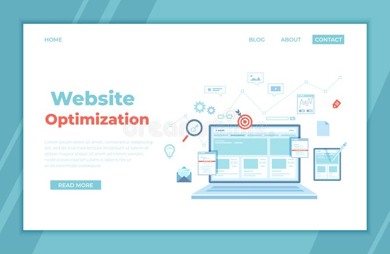 Website Optimization, Analysis, Content writing, Keywording, Reporting, Design, SEO, Links building. Website template on the lapto royalty free illustration