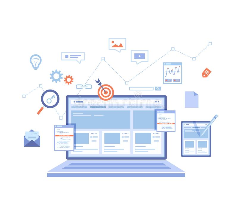 Website Optimization, Analysis, Content writing, Keywording, Reporting, Design, SEO, Links building. Website template on the lapto vector illustration