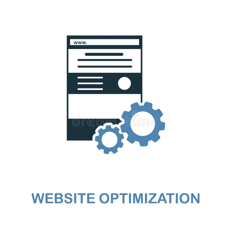 Website Optimization icon. Simple element illustration in 2 colors design. Website Optimization icon sign from seo collection. Per. Website Optimization icon stock illustration