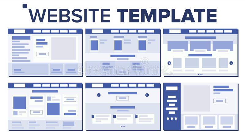 Website Page Set Design Vector. Responsive Web Pages Design Concept. UX, UI. Wireframes Layout, Architecture vector illustration