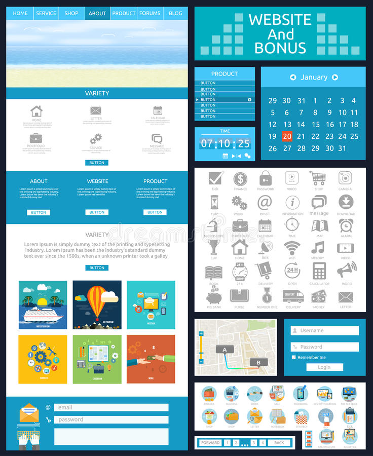 Website page template. Web design royalty free illustration