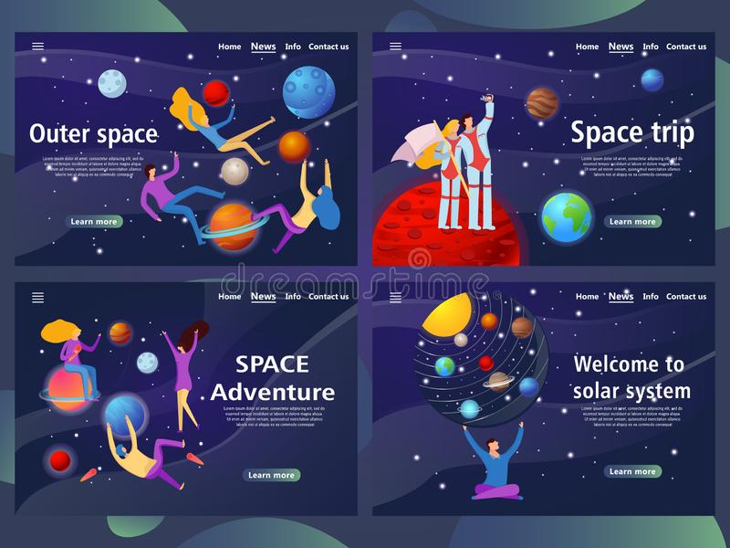 Website Page Templates With Solar System Design  Stock Vector