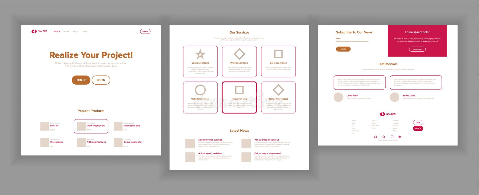 Website Page Vector. Business Website. Web Page. Landing Design Template. Achieve The Goal. Group Meeting. Product. Website Page Vector. Business Website. Web royalty free illustration