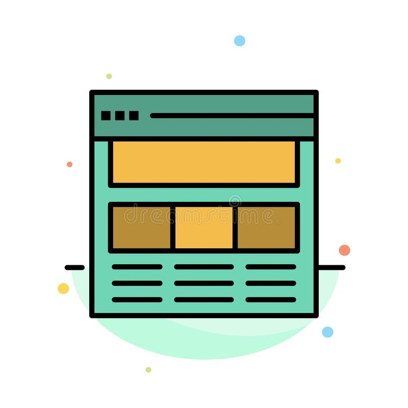 Website, Pagina, Interface, Web, het Online Abstracte Vlakke Malplaatje van het Kleurenpictogram stock illustratie