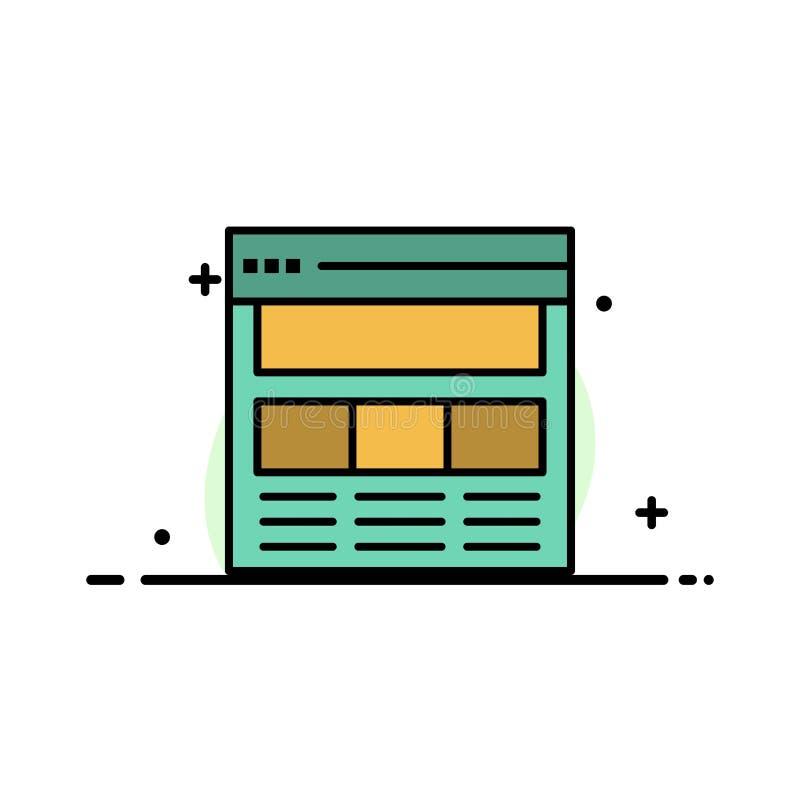 Website, Pagina, Interface, Web, het Online Malplaatje van de Bedrijfs Vlakke Lijn Gevulde Pictogram Vectorbanner stock illustratie