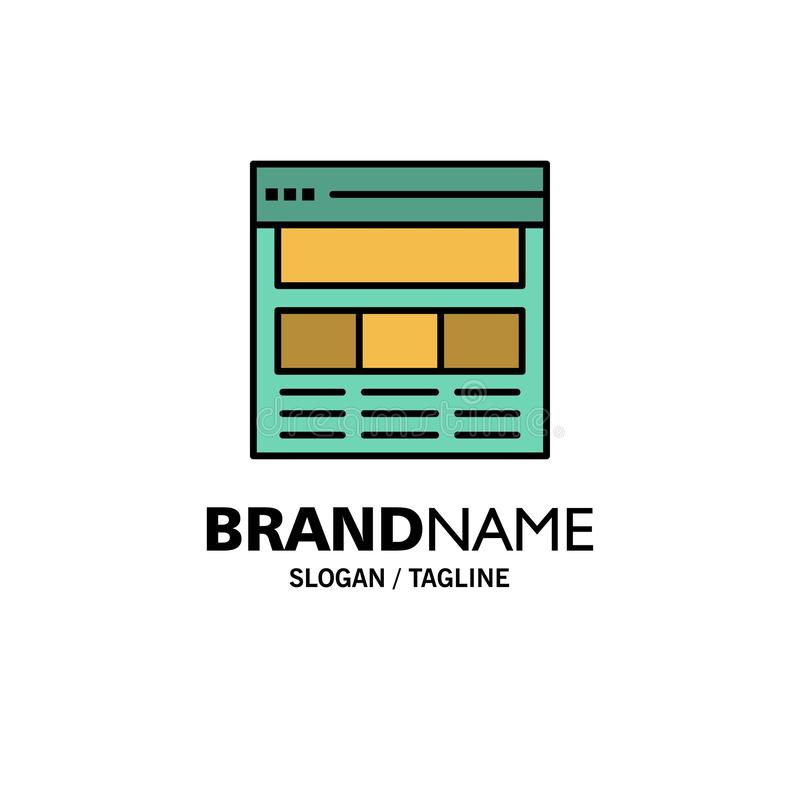Website, Pagina, Interface, Web, Online Zaken Logo Template vlakke kleur vector illustratie