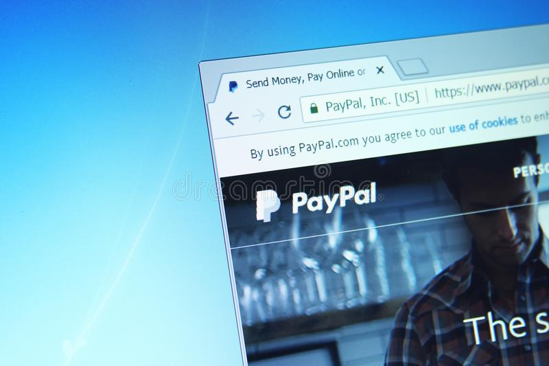 Paypal website. Website of paypal bank on computer screen stock photography