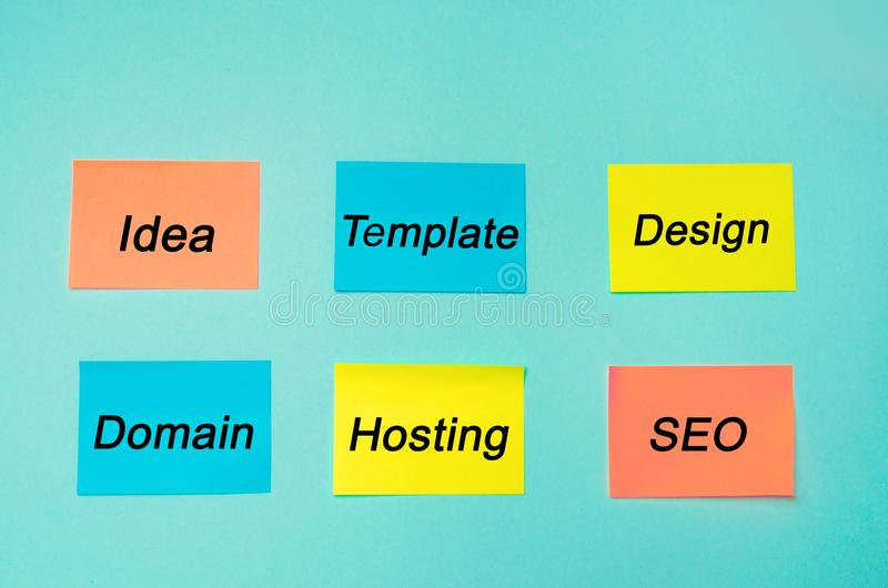Website plan and project. SEO process information flow chart, design scheme, business concept. profession programmer. Stickers in. Blue background stock photo