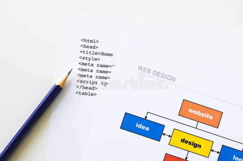 Website planning. Web design project planning with diagram, html and pencil stock photos