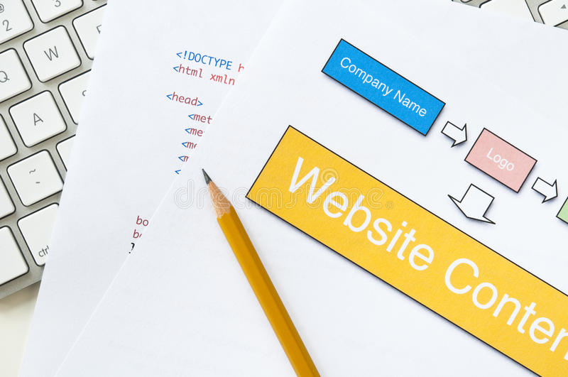 Website planning. Web design project planning with diagram, HTML, pencil and keyboard royalty free stock photos