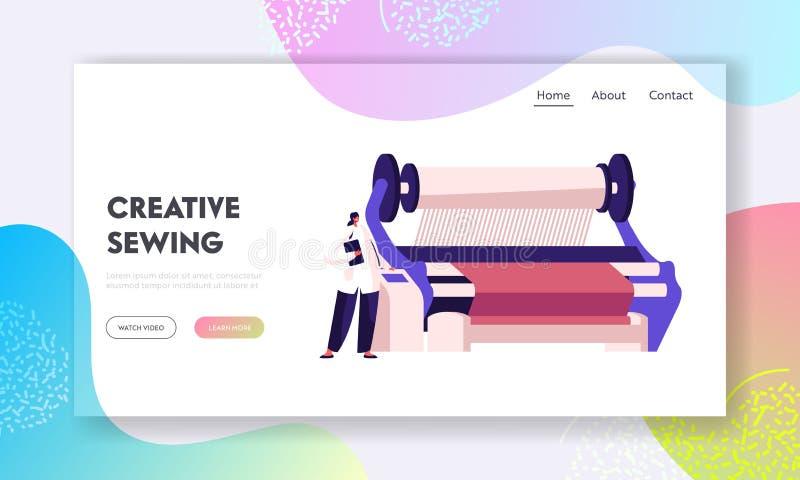 Website portaalpagina over de fabricage van textielmachines De Arbeider van de fabriek dichtbij het Controleren van Comité van de vector illustratie