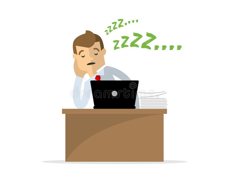 Vector of a businessman or an employee fall asleep, lazy. Website or print illustration of a businessman or an employee fall asleep, lazy stock illustration