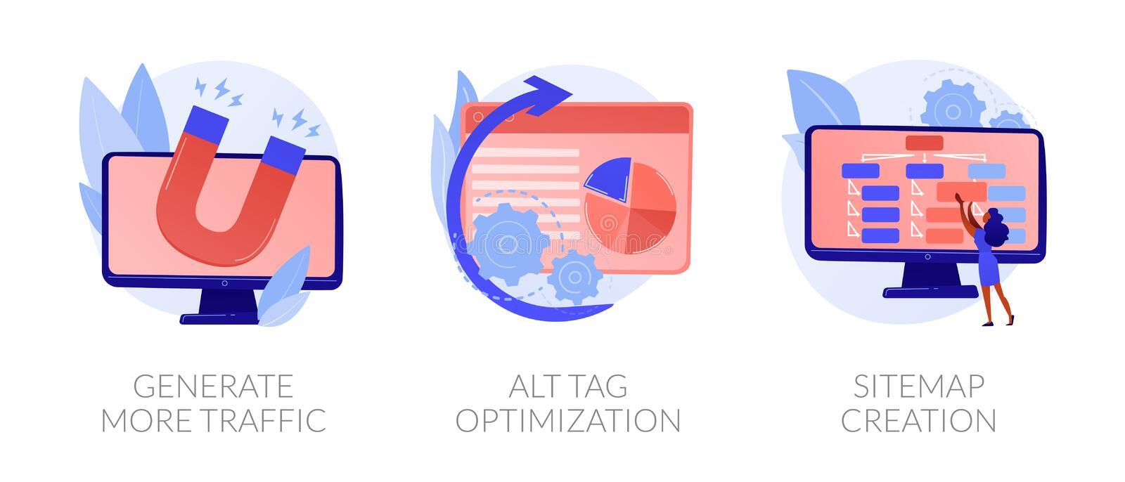 SEO results vector concept metaphors. Website promotion services icons set. Search engine optimization business. Generate more traffic, alt tag optimization vector illustration