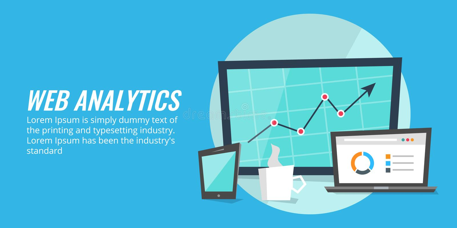 Website report analysis on digital devices. Web analytics, data, information concept. Concept of website data analysis. Marketing performance insights showing vector illustration