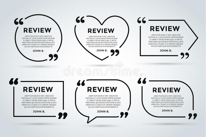 website review quote blank template stock illustration. Black Bedroom Furniture Sets. Home Design Ideas