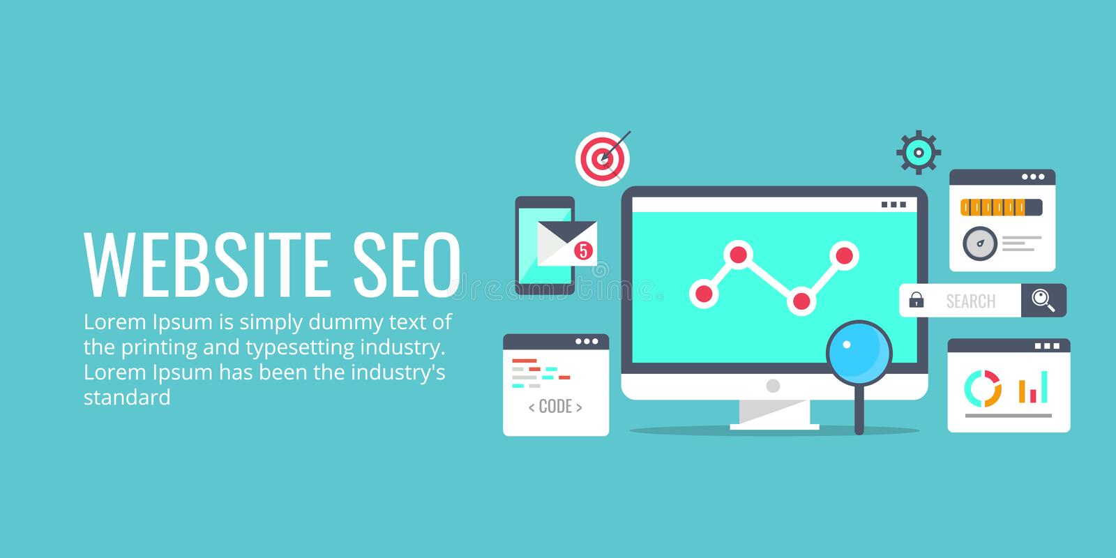 Seo optimization, programming process, web analytics concept. Flat design vector banner. stock illustration