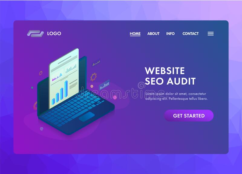 Website SEO audit with online search engine analysis and analytics report. Laptop with graphic and audit documentation. vector illustration