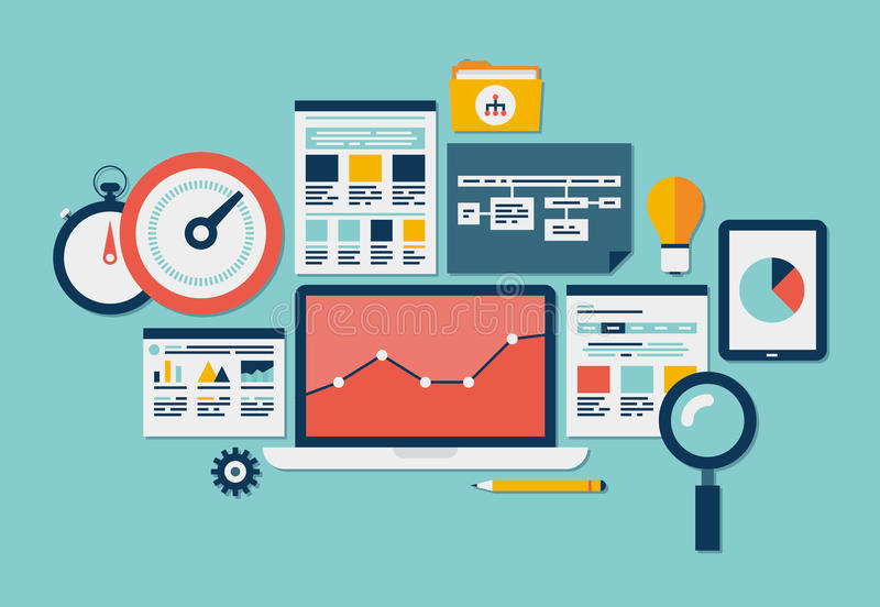Website SEO en analyticspictogrammen stock illustratie
