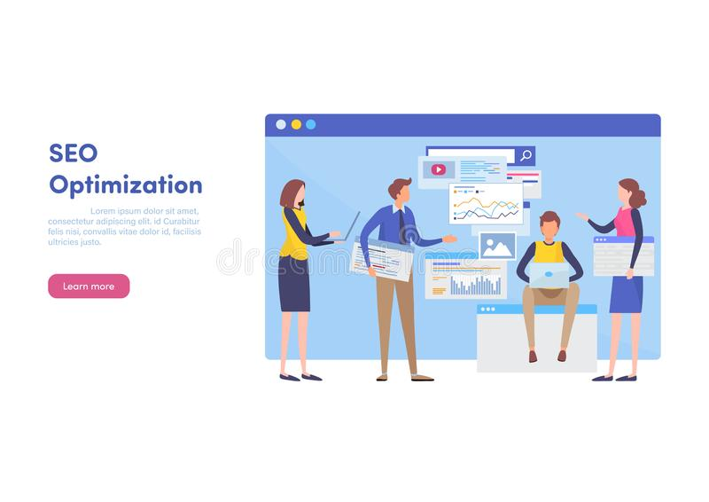 Website SEO optimization, Internet marketing, Landing page template for website for programming. Web design banner. Search Engine tools. Flat cartoon stock illustration