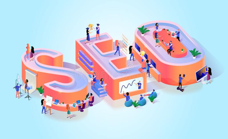 Website Seo Traffic Optimization Typography Banner vector illustratie
