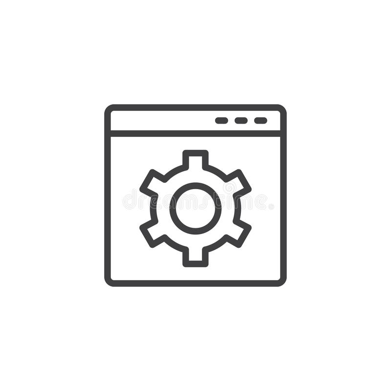 Website with setting cogwheel outline icon stock illustration
