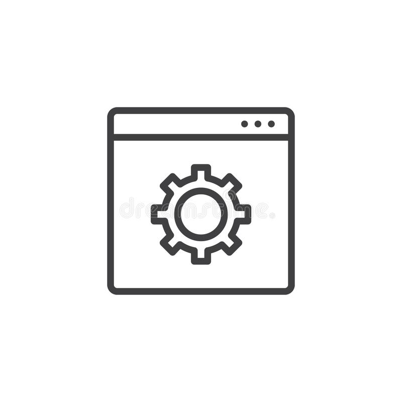 Website with setting cogwheel outline icon vector illustration