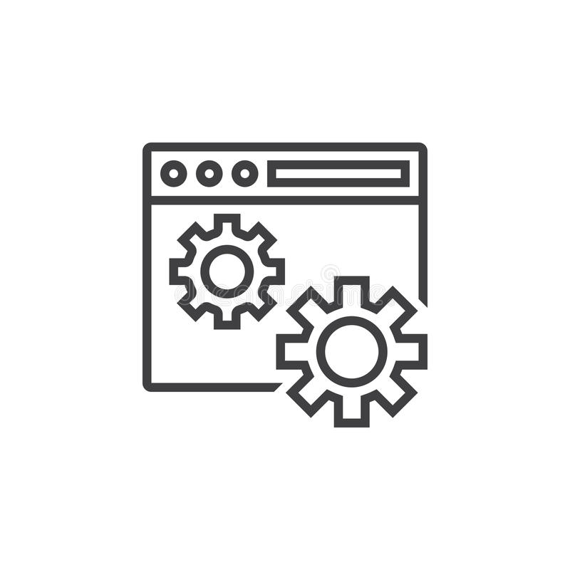 Website settings symbol. web browser and gears line icon, outline vector sign, linear pictogram isolated on white. logo. Illustration vector illustration