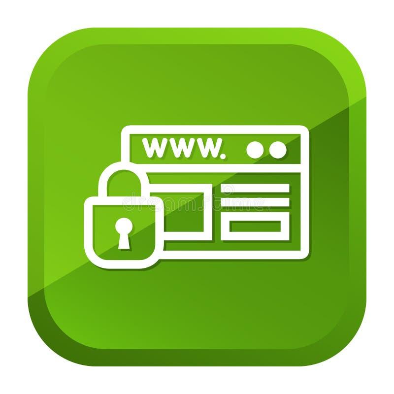 Website-Sicherheits-Vorhängeschloss-Ikone Grüne Taste Vektor Eps10 lizenzfreie abbildung