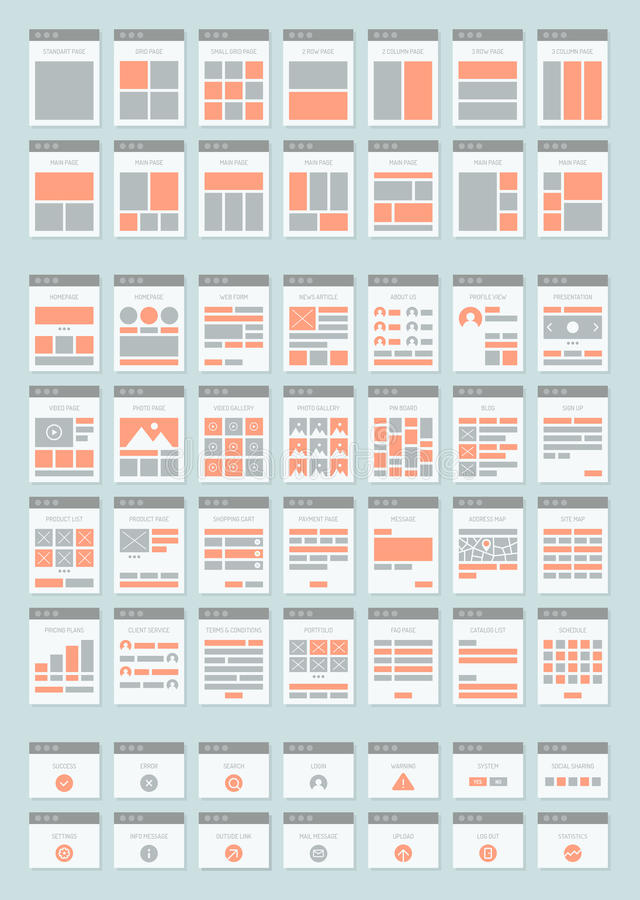 Website sitemaps flat icons set. Flat design style modern icons set of various website sitemap collection for creating flowchart navigation of web site vector illustration