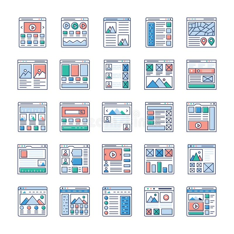 Website Sitemaps Flat Vectors Set. Is here. If you`re interested in web designing, web hosting, videography, web communication and so on hence, grab this stock illustration