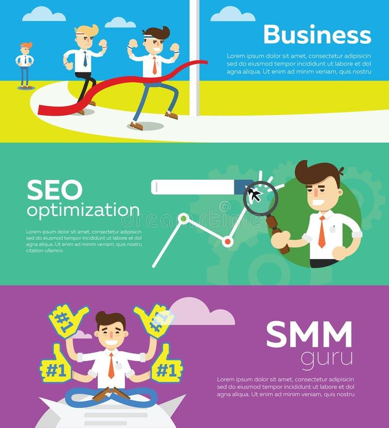 Website SMM en SEO-optimalisering royalty-vrije illustratie