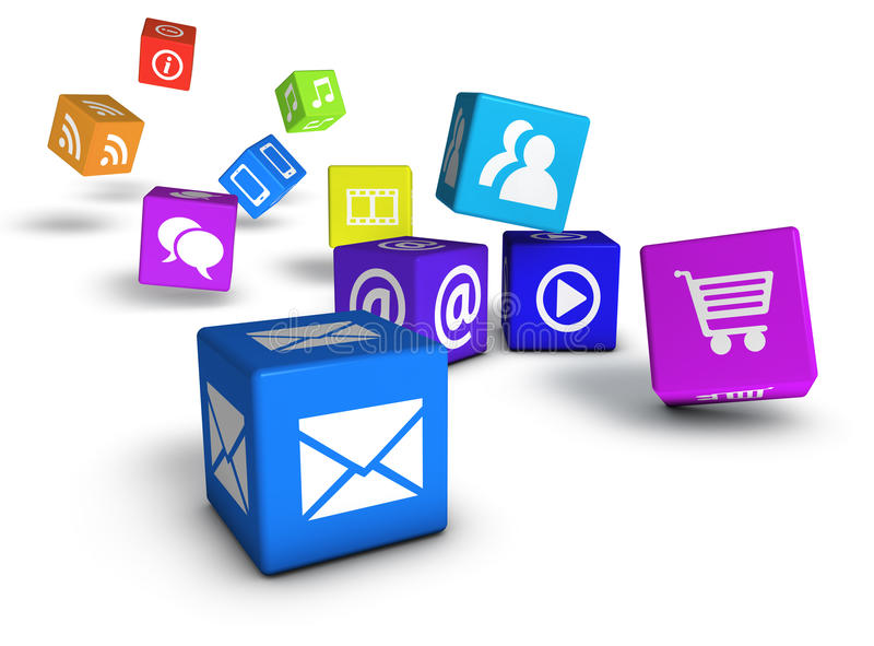 Website Social Media And Internet Cubes Stock Photography
