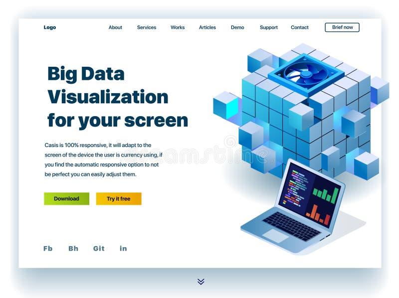 Website som ger servicen av stor datavisualization för din skärm vektor illustrationer
