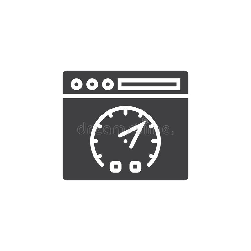 Website speed test symbol. Webpage and dashboard icon vector, filled flat sign, solid pictogram isolated on white, logo. Illustration stock illustration