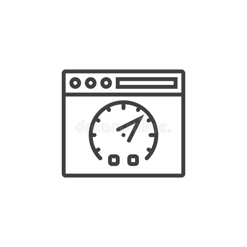 Website speed test symbol. Webpage and dashboard line icon, outline vector sign, linear pictogram isolated on white. logo. Illustration stock illustration