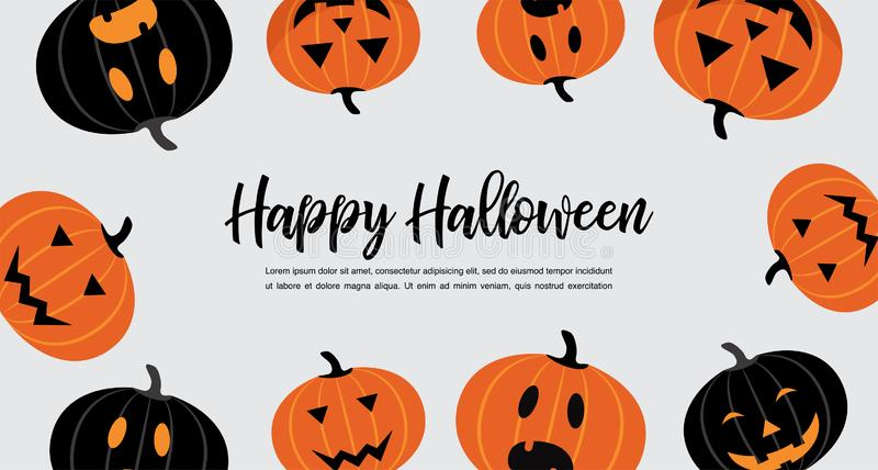 Website spooky header or banner with Halloween pumpkins. Poster, banner or background for Trick or Treat Halloween Party stock illustration