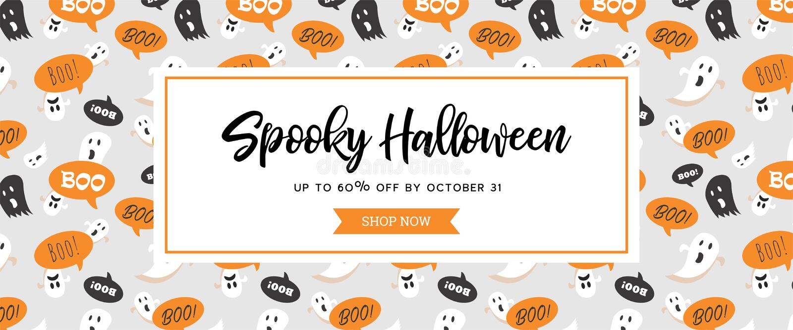 Website spooky header or banner with Halloween scary ghosts. Great for banner, voucher, offer, coupon, holiday sale. stock illustration