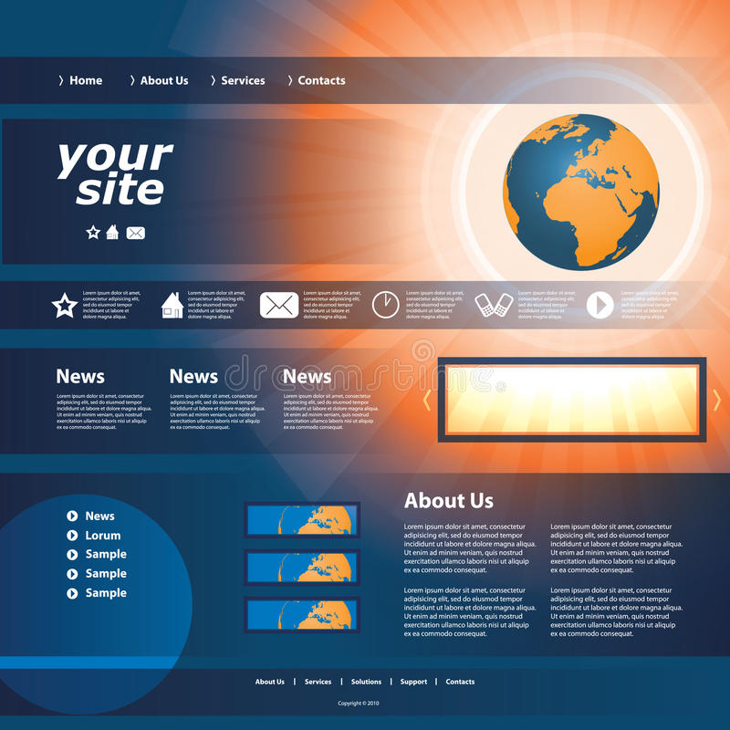 Download Website Template stock vector. Illustration of earth - 26718788